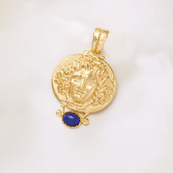 Italian Lapis Tagliamonte Tribute to Medusa Pendant in 18kt Gold Over Sterling, , default