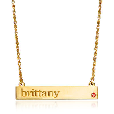 Birthstone Name Necklace in 18kt Yellow Gold Over Sterling Silver