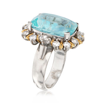 C. 1970 Vintage 12.92 Carat Aquamarine and 1.41 ct. t.w. Diamond Ring in Platinum and 18kt Gold. Size 8.5, , default