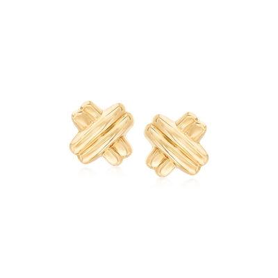 14kt Yellow Gold Double Crisscross Earrings, , default