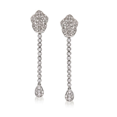 C. 1990 Vintage 1.20 ct. t.w. Diamond Drop Earrings in 14kt White Gold