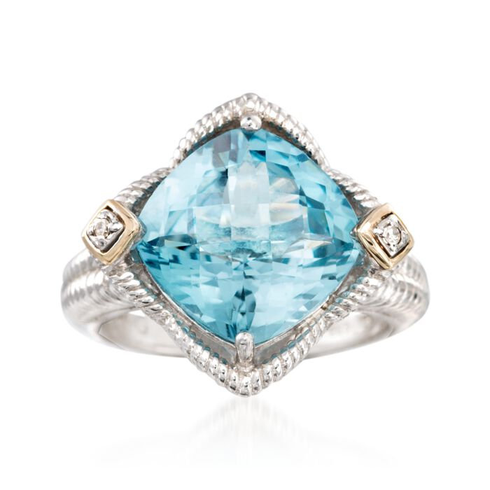 "Phillip Gavriel ""Rock Candy"" 5.25 Carat Blue Topaz Ring with Diamond Accents in Sterling Silver and 18kt Gold. Size 7, , default"