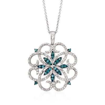 .76 ct. t.w. Blue and White Diamond Scrolling Medallion Pendant Necklace in Sterling Silver