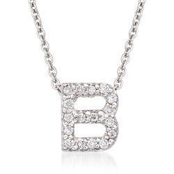 "Roberto Coin ""Tiny Treasures"" Diamond Accent Initial ""B"" Necklace in 18kt White Gold. 16"", , default"