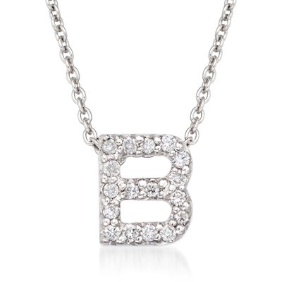 "Roberto Coin ""Tiny Treasures"" Diamond Accent Initial ""B"" Necklace in 18kt White Gold, , default"