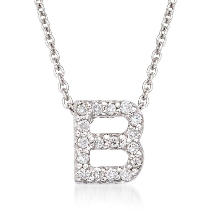 """Roberto Coin """"Tiny Treasures"""" Diamond Accent Initial """"B"""" Necklace in 18kt White Gold. 16"""", , default"""
