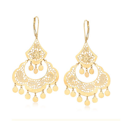 Italian 14kt Yellow Gold Filigree Chandelier Earrings, , default