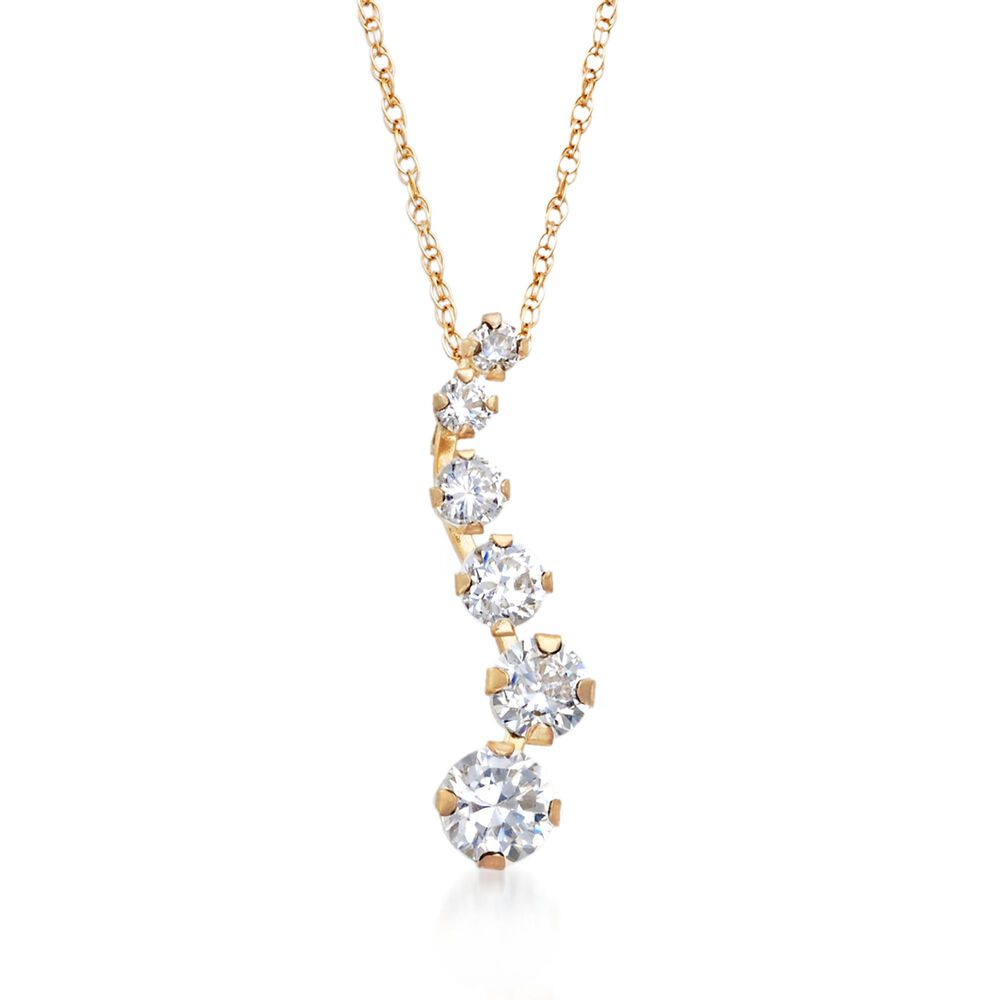 60 Ct T W Cz Journey Pendant Necklace In 14kt Yellow Gold Ross Simons