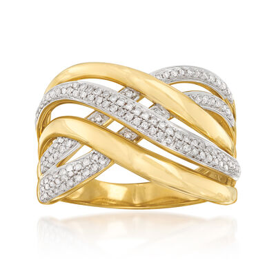 .27 ct. t.w. Diamond Crisscross Ring in Sterling Silver and 18kt Gold Over Sterling Silver, , default