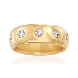 Italian Andiamo 14kt Yellow Gold and 1.00 ct. t.w. CZ Eternity Ring, , default