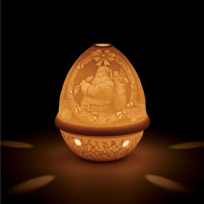 Lladro Porcelain Lithophane Votive Light - Santa Claus