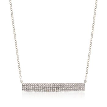 """.50 ct. t.w. Diamond Bar Necklace in 14kt White Gold. 16"""", , default"""