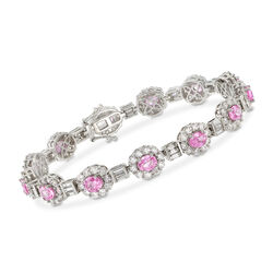 """C. 2000 Vintage 5.85 ct. t.w. Diamond and 5.85 ct. t.w. Pink Sapphire Bracelet in 18kt White Gold. 7"""", , default"""