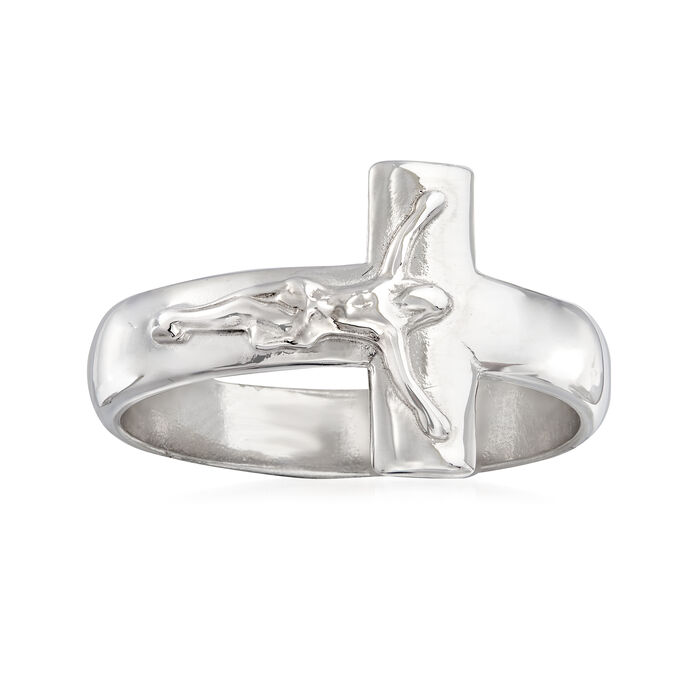 Italian Sterling Silver Crucifix Ring