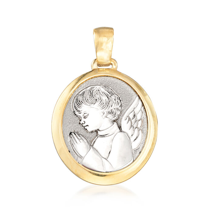 Italian 14kt Two-Tone Gold Guardian Angel Pendant, , default