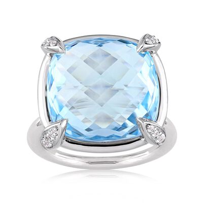 18.00 Carat Sky Blue Topaz and .13 ct. t.w. White Sapphire Ring in 14kt White Gold, , default