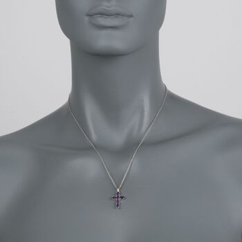 "1.30 ct. t.w. Amethyst Cross Pendant Necklace in Sterling Silver. 18"", , default"