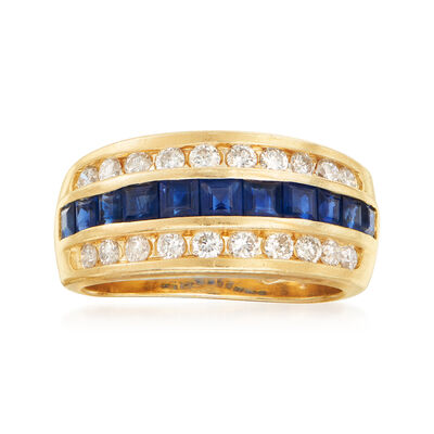 C. 1990 Vintage 1.65 ct. t.w. Sapphire and .55 ct. t.w. Diamond Ring in 14kt Yellow Gold, , default