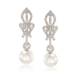 Mikimoto 10-10.5mm South Sea Pearl and .58 ct. t.w. Diamond Drop Earrings in 18kt White Gold, , default
