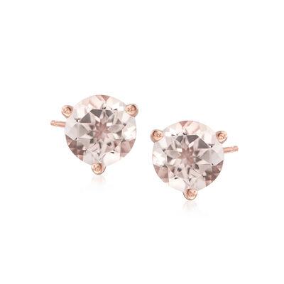 1.50 ct. t.w. Morganite Stud Earrings in 14kt Rose Gold, , default
