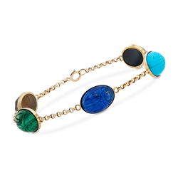 Carved Multi-Stone Scarab Station Bracelet in 14kt Yellow Gold, , default