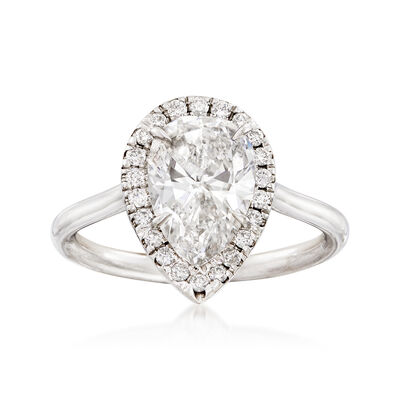 Majestic Collection 2.11 Carat Pear Diamond and .19 ct. t.w. Diamond Halo Ring in 18kt White Gold