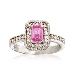 C. 2000 Vintage .50 Carat Pink Sapphire and .60 ct. t.w. Diamond Ring in 14kt White Gold, , default