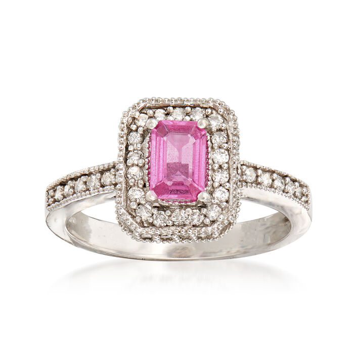 C. 2000 Vintage .50 Carat Pink Sapphire and .60 ct. t.w. Diamond Ring in 14kt White Gold. Size 7, , default