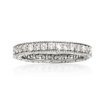 1.00 ct. t.w. Diamond Eternity Band with Beaded Edges in 14kt White Gold