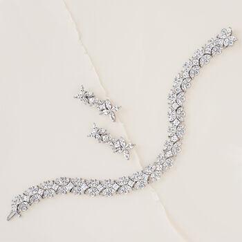 "16.40 ct. t.w. Multi-Cut CZ Floral Bracelet in Sterling Silver. 7.25"", , default"