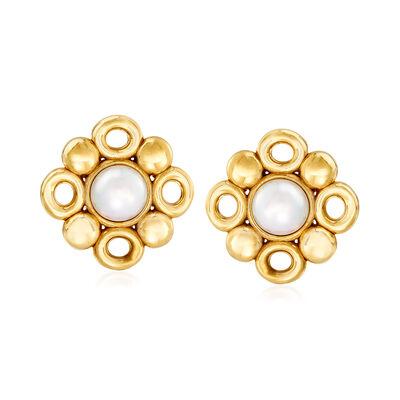 Italian Cultured Pearl Bubble Earrings in 14kt Yellow Gold, , default