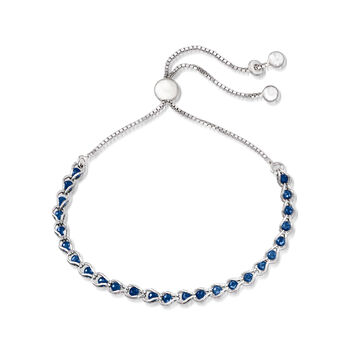 Italian Simulated Sapphire Bead Bolo Bracelet in Sterling Silver