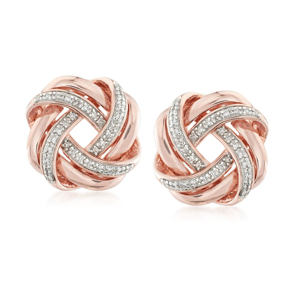 T W Diamond Love Knot Earrings In 18kt Rose Gold Over Sterling