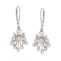 C. 1960 Vintage .30 ct. t.w. Diamond Drop Earrings in 14kt White Gold, , default