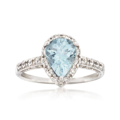 1.30 Carat Aquamarine and .45 ct. t.w. Diamond Ring in 14kt White Gold