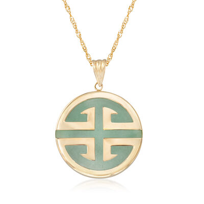 "Green Jadeite Jade ""Longevity"" Chinese Symbol Circle Pendant Necklace in 14kt Gold, , default"