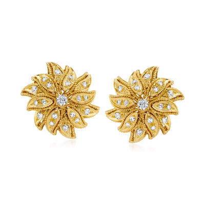 C. 1980 Vintage 1.15 ct. t.w. Diamond Flower Earrings in 18kt Yellow Gold