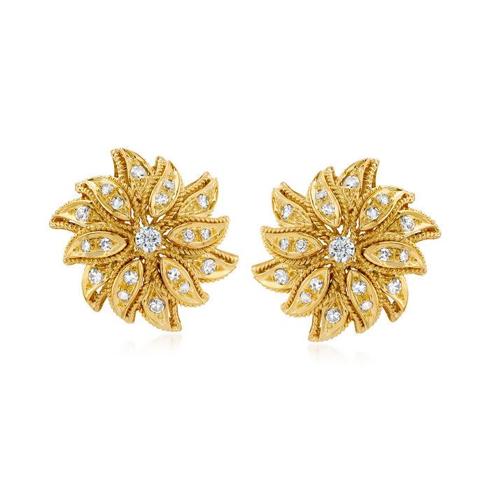 C. 1980 Vintage 1.15 ct. t.w. Diamond Flower Earrings in 18kt Yellow Gold