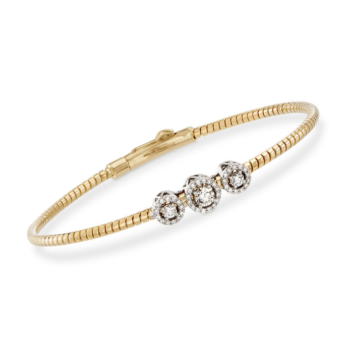 "Simon G. .22 ct. t.w. Diamond Three-Station Bangle Bracelet in 18kt Yellow Gold. 7"", , default"