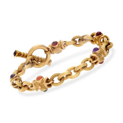C. 1990 Vintage 1.95 ct. t.w. Multicolored Multi-Stone Link Bracelet in 14kt Yellow Gold, , default