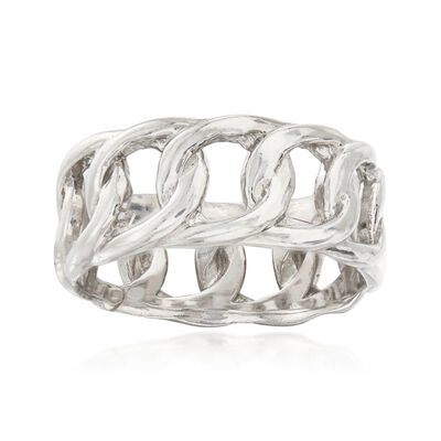 Italian Sterling Silver Curb-Link Eternity Ring