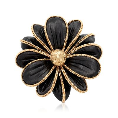 Italian Ruthenium-Plated 14kt Yellow Gold Flower Ring, , default