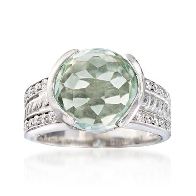 C. 1990 Vintage 5.25 Carat Green Prasiolite and .75 ct. t.w. Diamond Ring in 18kt White Gold, , default