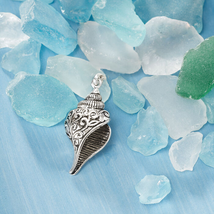 Sterling Silver Scrolling Seashell Pendant Necklace
