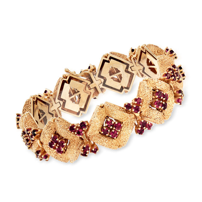 """C. 1970 Vintage 11.70 ct. t.w. Ruby Cluster Bracelet in 14kt Yellow Gold. 7.25"""""""