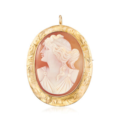 C. 1930 Vintage Shell Cameo Pin/Pendant in 10kt Yellow Gold