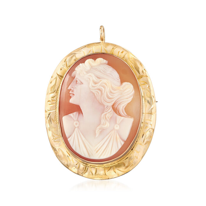 C. 1930 Vintage Shell Cameo Pin/Pendant in 10kt Yellow Gold, , default