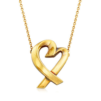 "C. 1980 Tiffany Jewelry ""Loving Heart"" 18kt Yellow Gold Heart Necklace, , default"