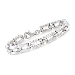 Italian Sterling Silver Rectangular Link Bracelet, , default