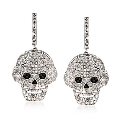 .51 ct. t.w. Diamond Skull Drop Earrings in Sterling Silver, , default